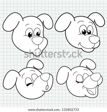 vector doodle cute dog face collection - stock vector