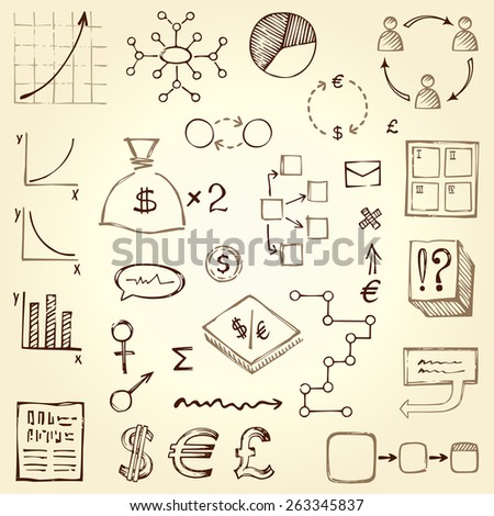 Vector doodle diagrams and graphics. - stock vector