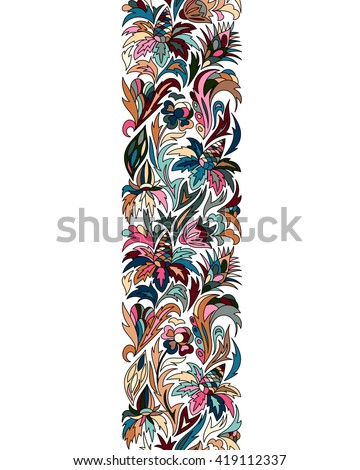 Vector doodle flowers seamless border. Style decorative element. Colorful hand draw pattern. Bright ribbon, strip, band, edging,  bordure. - stock vector