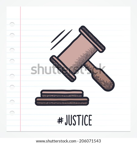 Vector doodle gavel icon illustration with color, drawn on lined note paper. - stock vector