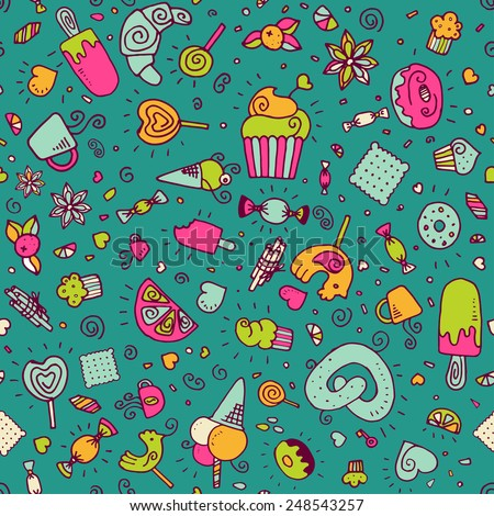 Vector doodle hand drawn seamless pattern with desserts. Cupcake, ice cream, candy, lollipop. Restaurant menu or tea party background.  Eps10 - stock vector