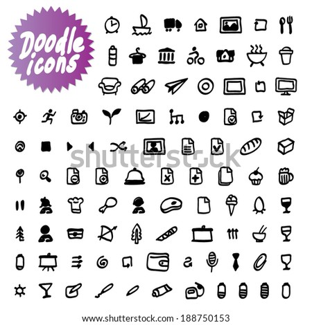 vector doodle icons - stock vector