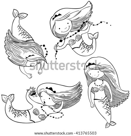 Vector doodle illustration set with cute mermaids - stock vector