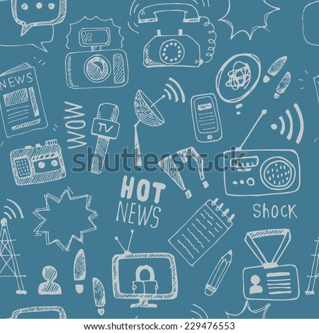 Vector doodle  journalism seamless pattern. Background of hand drawn symbols with tv,camera, speech bubble, telephone,dictaphone, radio - stock vector
