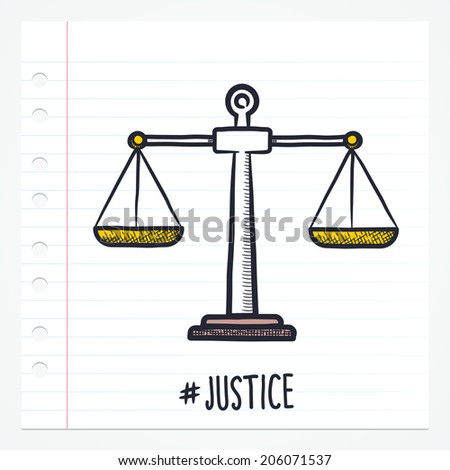 Vector doodle justice scale icon illustration with color, drawn on lined note paper. - stock vector