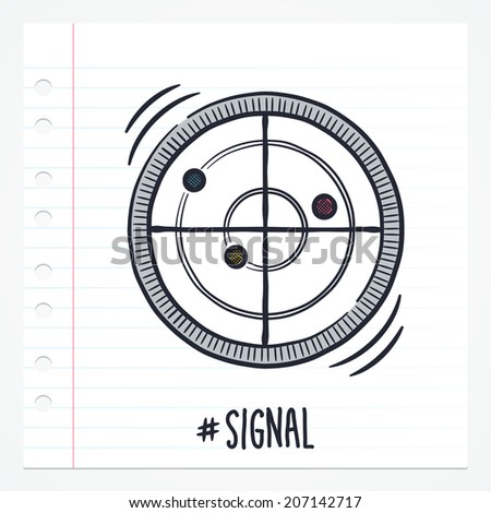 Vector doodle radar icon illustration with color, drawn on lined note paper. - stock vector