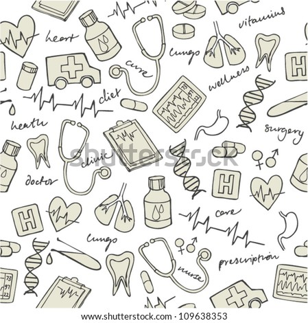 Vector doodle seamless illustration Medicine icons - stock vector