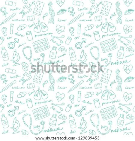 Vector doodle seamless Medicine icons - stock vector
