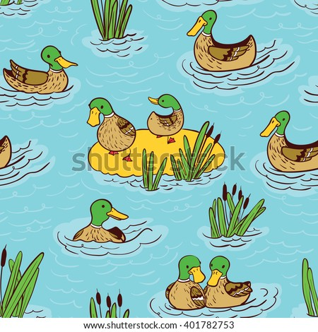 Vector doodle seamless pattern illustration with ducks and reed on water - stock vector
