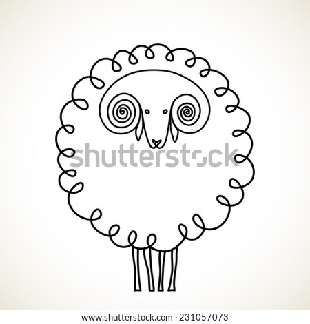 Vector doodle sheep. Symbol of 2015 chinese new year. Cute hand drawn childish icon. Holiday linear illustration for print, web - stock vector
