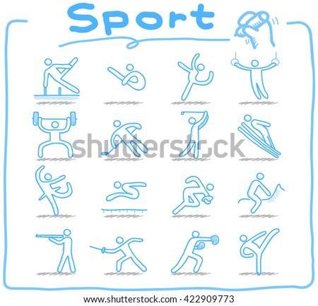 Vector Doodle sport icon set - stock vector