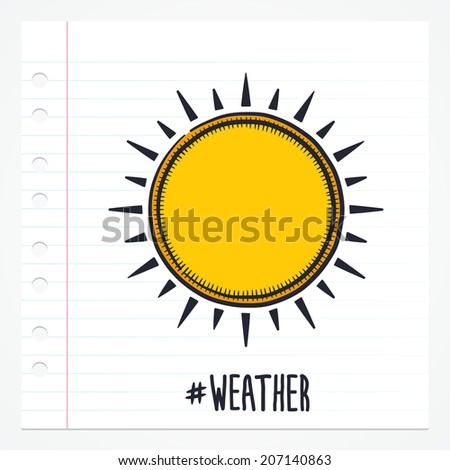 Vector doodle sun icon illustration with color, drawn on lined note paper. - stock vector