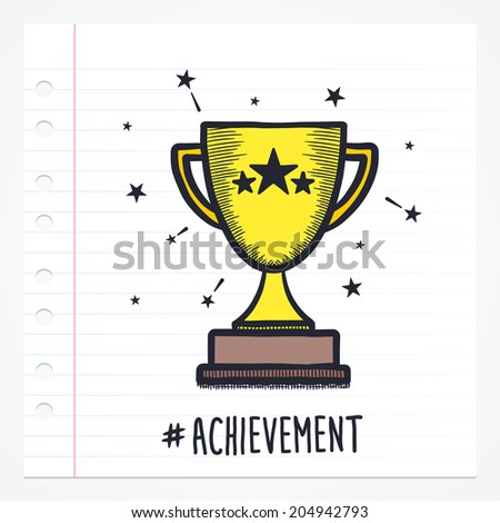 Vector doodle trophy icon illustration with color, drawn on lined note paper. - stock vector