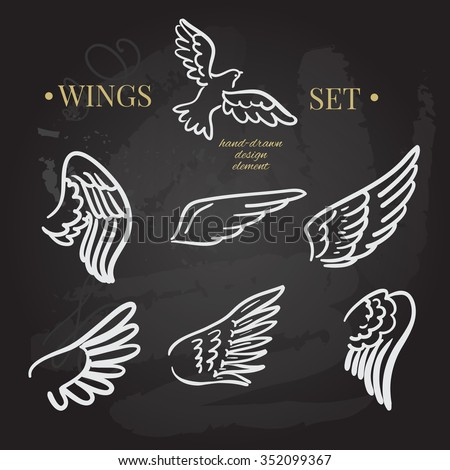 vector doodle wings set. angel wings collection, hand-drawn illustration of design elements. - stock vector
