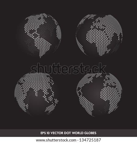Vector Dot Worldmap Set - stock vector