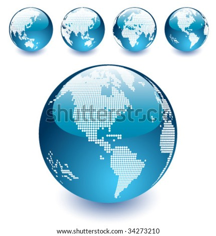 Vector Dotted Globes of the World - stock vector
