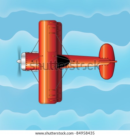 Vector Double-Wing Aircraft - stock vector