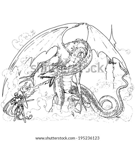 Vector dragon and knight. - stock vector
