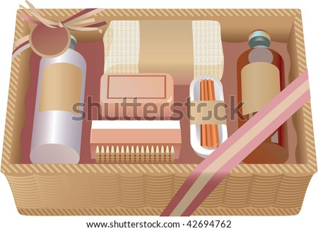 Vector drawing. A gift box with soap and clearing cosmetics. Wellness - stock vector
