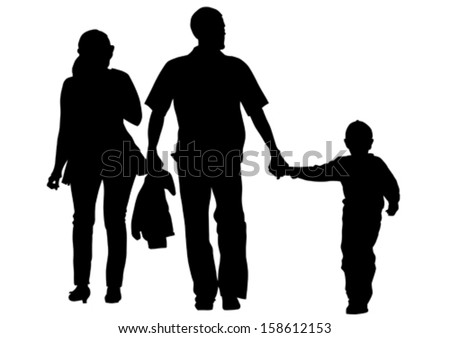 Vector drawing families with a child. - stock vector