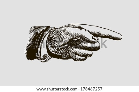 vector drawing hand with the index finger indicates the direction - stock vector