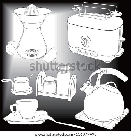 Vector drawing kitchen appliances - detailed vector - stock vector