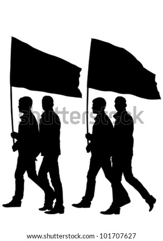 Vector drawing large crowds to flag - stock vector