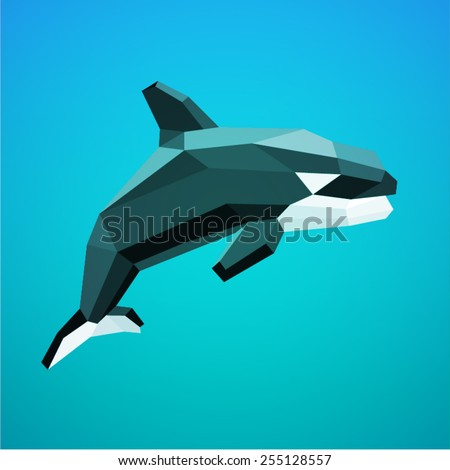 vector drawing low poly geometric whale - stock vector