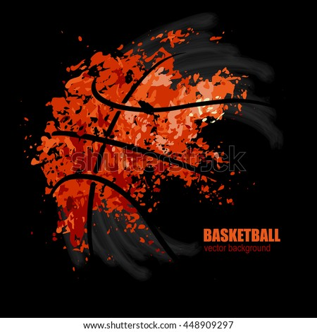 vector drawing of a basketball on a black background, design for basketball game, grunge background - stock vector