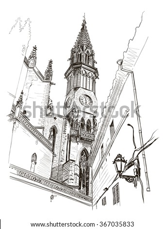 Vector drawing of a church in the center of Manacor, Mallorca, Spain - stock vector