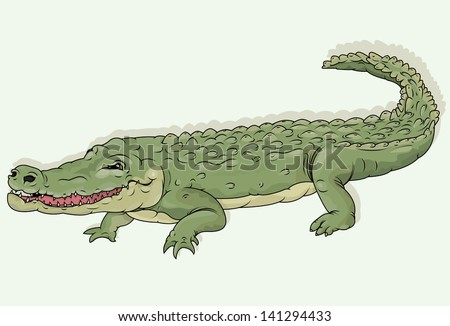 Vector drawing of a crocodile/Crocodile/ Easy to edit layers, no meshes or blends used, easy to edit file black outline file looks great too, editable on separate layer - stock vector