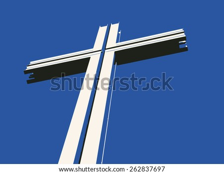 Vector drawing of a cross with shadows against a blue background - stock vector
