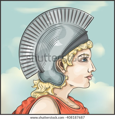 Vector drawing of a Greek Warrior woman / Easy to edit groups and layers, no gradients used except background layer group - stock vector