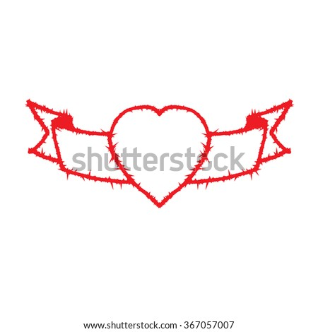 Vector drawing of a heart shape with the barbed wire. - stock vector