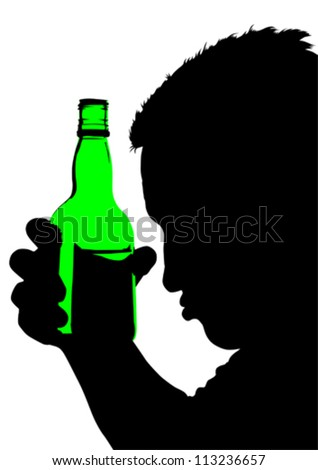 Vector drawing of a man with a bottle of whiskey - stock vector