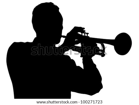Vector drawing of a man with trumpet on stage - stock vector