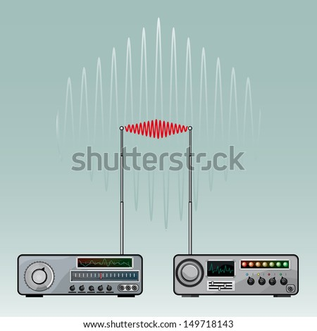 Vector drawing of a Radio device/Radio Activity/ Easy to edit groups and layers, easy to isolate objects, gradients used, no meshes used, no blends used. great vintage retro file. - stock vector