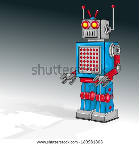 Vector drawing of a Vintage Robot/Vintage Robot/Easy to edit file grouped layers and objects, no meshes or blends or gradients used on robot, gradients used in background layer.  - stock vector