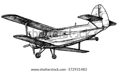 Vector drawing of airplane stylized as engraving - stock vector