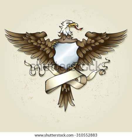 Vector drawing of an / Eagle Crest / Easy to edit layers and groups, easy to isolate and add text to shield and ribbon element.  - stock vector