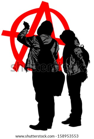 Vector drawing of anarchists with large sign. Property release is attached to the file - stock vector