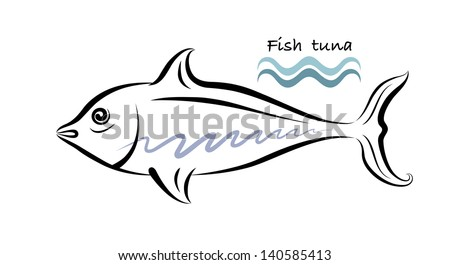 Vector drawing of big fish on white background. - stock vector