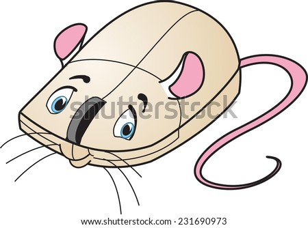 Vector drawing of cartoon computer mouse as mouse - stock vector