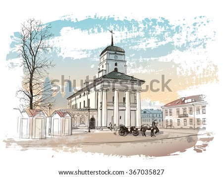 Vector drawing of central street of old european town, Minsk, Belarus - stock vector