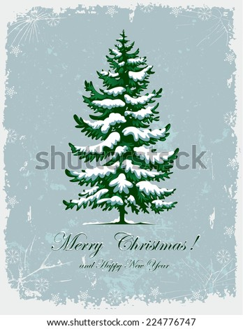 Vector drawing of Christmas tree. Spruce covered with snow. - stock vector