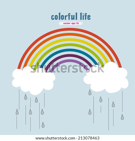 vector drawing of colorful rainbow with clouds and rain drops over blue sky background. Red, orange, yellow, green, blue, indigo, purple color with colorful life meaning - stock vector