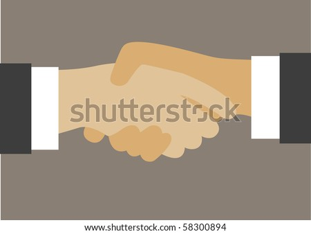 Vector drawing of hand shake between two well dressed businessman. - stock vector