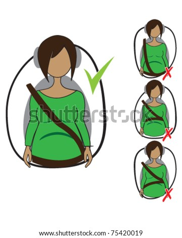 Vector drawing of how to wear seatbelt correctly when pregnant - stock vector