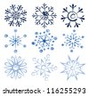 Vector drawing of nine snowflakes on white background. - stock vector