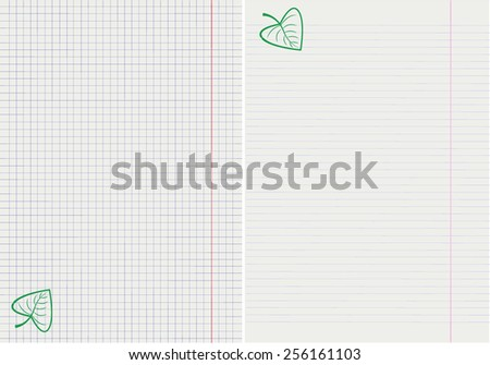 vector drawing of pages from school notebooks with a green leaf - stock vector
